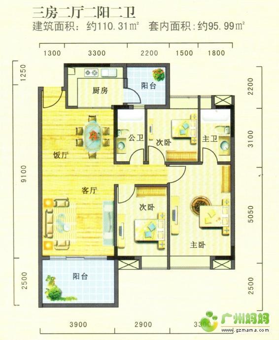 新時代家園三房兩廳110㎡.jpg